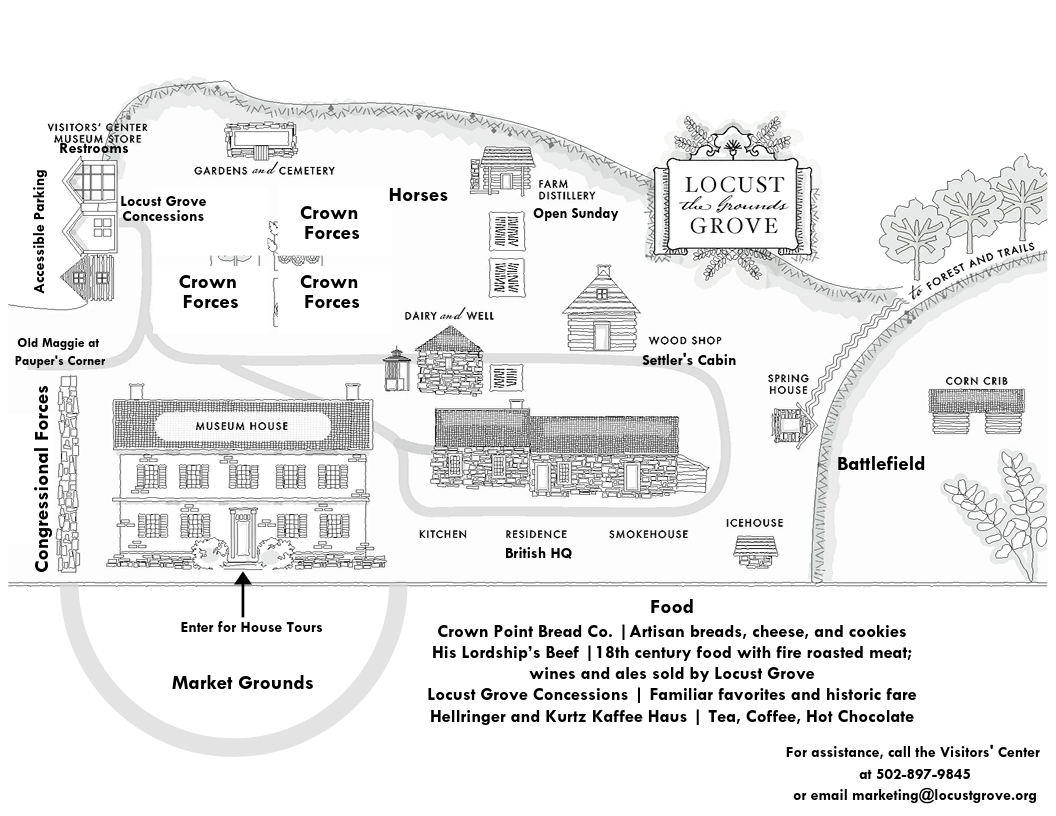 Map showing locations of vendors, food, parking, and other site features during Market Fair.