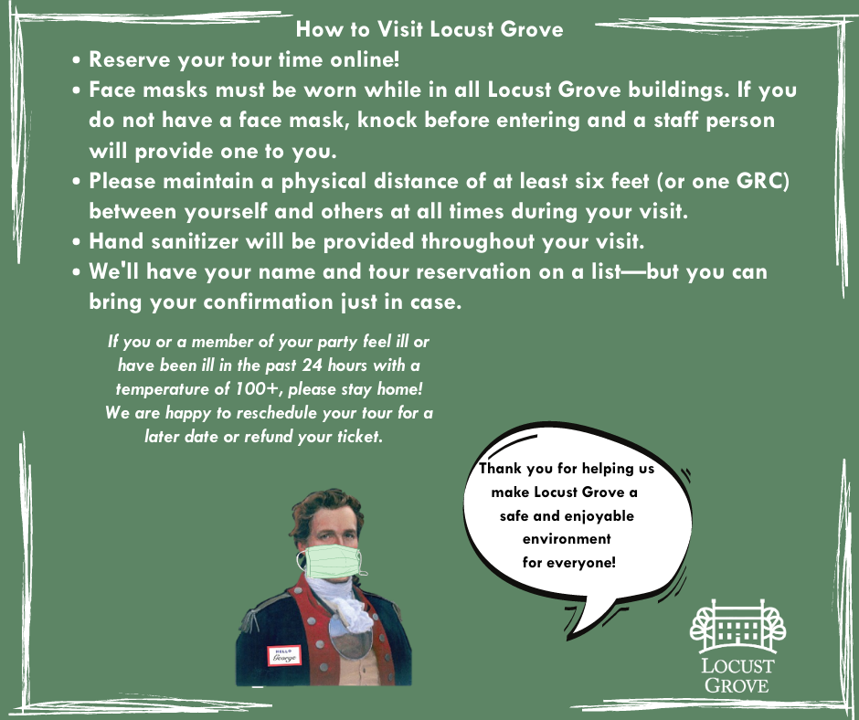 A cut out of General George Rogers Clark wearing a face mask on a green field with instructions on how to visit Locust Grove
